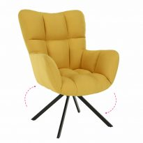 Dizájnos forgó fotel, sárga/fekete, KOMODO