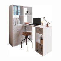 PC asztal könyvespolccal, fehér/beton, MINESON