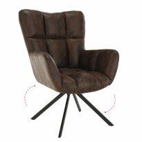 Dizájnos pörgő fotel, szövet, csiszolt bőr hatással barna/fekete, KOMODO