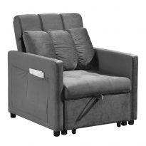 Fotel ágyfunkcióval, világosszürke Velvet anyag, IGRIM