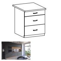 Alsó szekrény, artisan tölgy/szürke matt ,fogantyúkkal, LANGEN D60S3