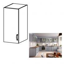 Felső szekrény, fehér/szürke matt, bal, LAYLA G30