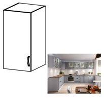 Felső szekrény, fehér/szürke matt, bal, LAYLA G40