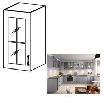 Felső szekrény, fehér/szürke matt, bal, LAYLA G40S