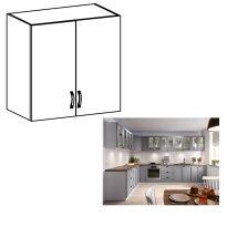 Felső szekrény, fehér/szürke matt, LAYLA G80