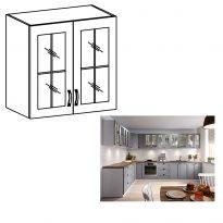 Felső szekrény, fehér/szürke matt, LAYLA G80S