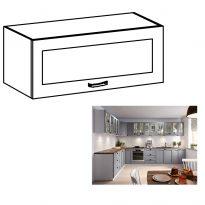 Felső szekrény, fehér/szürke matt, LAYLA G80KS