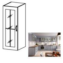 Felső szekrény, fehér/szürke matt, bal, LAYLA W40S
