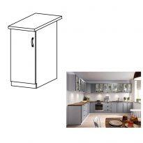 Alsó szekrény, szürke matt/fehér, bal, LAYLA D30