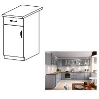 Alsó szekrény, szürke matt/fehér, bal, LAYLA D40S1