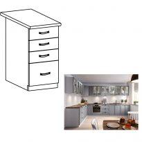Alsó szekrény fiókokkal, szürke matt/fehér, LAYLA D40S4