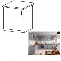 Alsó szekrény, szürke matt/fehér, bal, LAYLA D601F