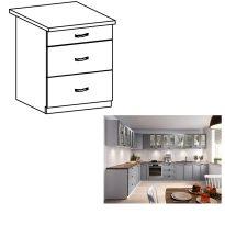 Alsó szekrény fiókokkal, szürke matt/fehér, LAYLA D60S3