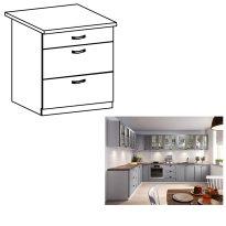 Alsó szekrény fiókokkal, szürke matt/fehér, LAYLA D80S3