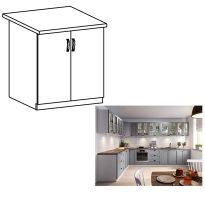 Kétajtós alsó szekrény, szürke matt/fehér, LAYLA D80