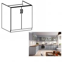 Mosogató szekrény, szürke matt/fehér, LAYLA D80Z