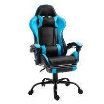 Gamer fotel lábtartóval, fekete/kék, TARUN