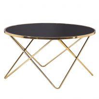 Konferenciaasztal, gold króm arany/fekete, ROSALO
