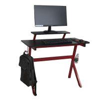 Gamer asztal, piros/fekete, LATIF