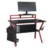 Gamer asztal, piros/fekete, TABER