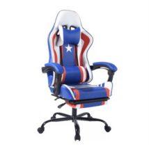 Gamer szék, kék/piros/fehér, CAPTAIN