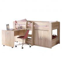 Kombinált ágy gyerekszobába, sonoma tölgy, FANY