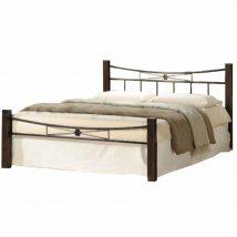 Fém ágy lécezett ráccsal, fém (fekete) + diófa, 140x200, PAULA