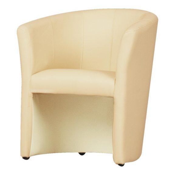 Fotel, bézs textilbőr, CUBA