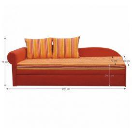 Kanapé ágyfunkcióval, narancs/csíkos minta,bal oldali kivitel, AGA D