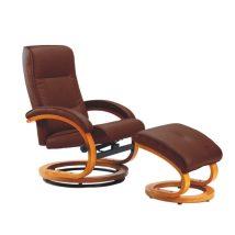 Állítható pihenő fotel, sötétbarna textilbőr, égerfa, RYAN